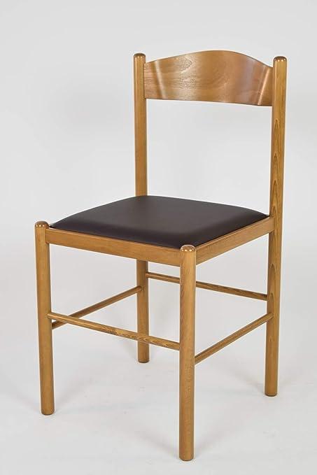 Tommychairs Set 2 sedie classiche PISA 38 per cucina, bar e sala da pranzo, robusta struttura in legno di faggio verniciata color rovere e seduta
