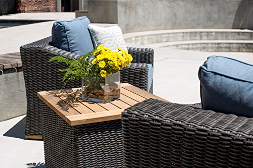 La-Z-Boy Outdoor New Boston Resin Wicker Patio Furniture Side Table - Bring Quality La-Z-Boy Outdoor Furniture to your patio and experience the relaxing comfort and quality known to La-Z-Boy. Perfect for deck, porch, firepit,and poolside relaxing, conversation, and drinks. Slat top side table features beautiful teak wood. Transitional styling and neutral gray frames add a stylish flair to any outdoor area - patio-tables, patio-furniture, patio - 51qq1OiBCTL -
