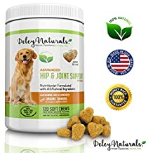 Deley Naturals, Advanced Arthritis Pain Relief for Dogs, Hip Joint and Dysplasia Support, 120 Bacon Soft Chews, Glucosamine for Dogs with Chondroitin, MSM and Organic Turmeric, 100% Natural Supplement