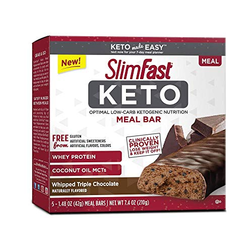 Advanced Protein Bar Peanut Butter - SlimFast Keto Meal Replacement Bar, Whipped Triple Chocolate, 5 Count