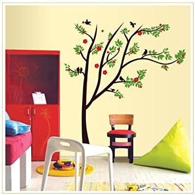 Design Tall Tree with Green Leaves Red Flowers and Black Birds Removable Wall Decal Home Decor Sticker from New Design