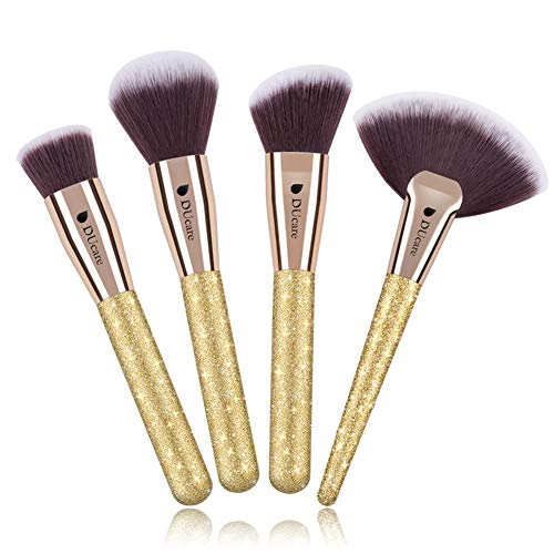 DUcare Contour Face Makeup Brush Set - Synthetic Contouring Foundation Powder and Highlighting Kit - Cream Blush Powder Flat Nose Cheek Round Small Angled Fan Tapered Precision Kabuki Foundation Kit
