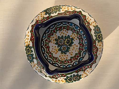 Ashtray Signed - Talavera Ceramic Ashtray 4'' Modern Art Design Authentic Puebla Mexico Pottery Hand Painted Design Vivid Colorful Art Decor Signed [Green W/Blue Circle]