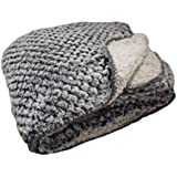 "Regal Comfort Sherpa Luxury Checkered Pattern Throw (Silver Fox, 50"" x 70"")"