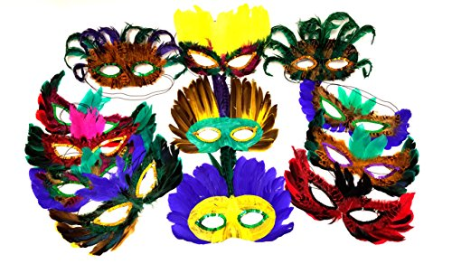 DONDOR Feather Masks, Masquerade Ball Masks, Costume Party Feather (Masquerade Ball Party Mask)