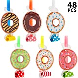 48 Pieces Donut Blowers Musical Noisemaker Blowouts Whistles Donut Time Party Supplies for Birthday Baby Shower Party Decoration