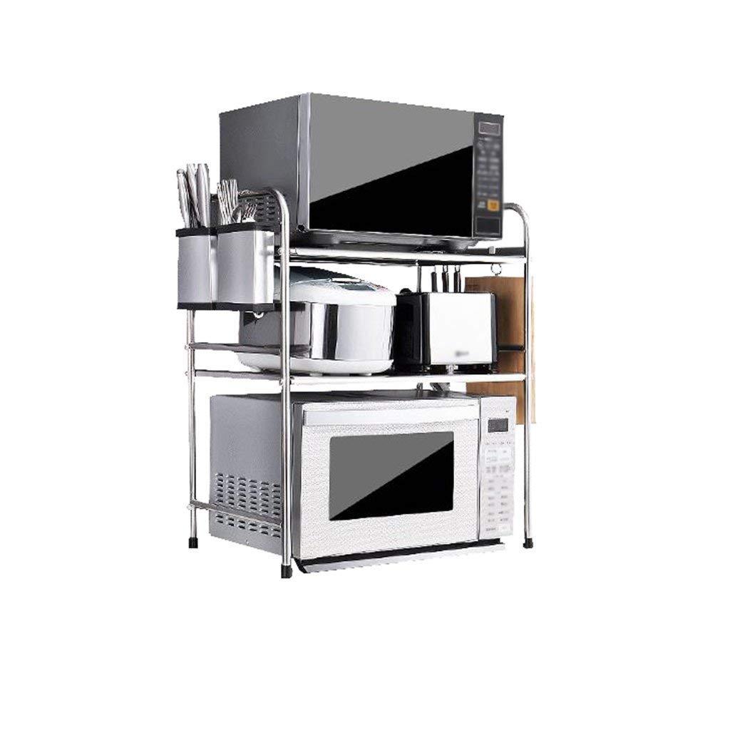Kitchen Shelf Stainless Steel Thicken 2-Layers Floor-Mounted Adjustable with Hooks Knife Holder Chopstick Holder Microwave Oven Rack Storage Shelf Spice Rack (53cm,58cm) (Size : 58CM)