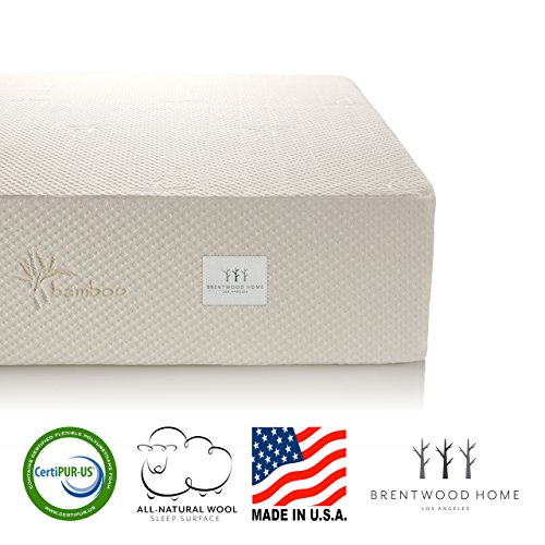 Brentwood Home 13-Inch Gel HD Memory Foam Mattress Made in USA CertiPUR-US 25 Year Warranty Natural Wool Sleep Surface and Bamboo Cover Queen