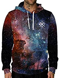 Long Sleeve Lightweight All Over Galaxy Print Hoodie Sweatshirts
