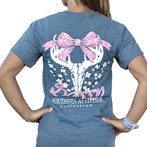 Southern Attitude Dogwood Sassy Heather Gray Bow Deer Skull Preppy Short Sleeve Shirt (Medium)