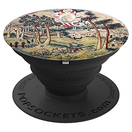 Tapestry Enthusiast Pastoral Scene Trees and Flowers - PopSockets Grip and Stand for Phones and Tablets