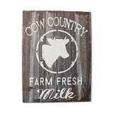 Barnyard Designs Cow Country Fresh Milk Retro Vintage Wood Plaque Bar Sign Country Home Decor 15.75'' x 11.75''