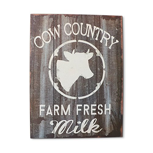 Barnyard Designs Cow Country Fresh Milk Retro Vintage Wood Plaque Bar Sign Country Home Decor 15.75