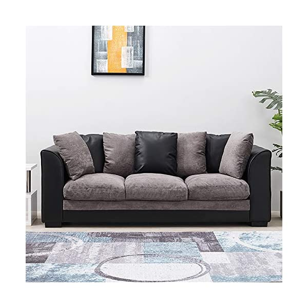 Wellgarden Faux Leather and Fabric 3 Seater Sofa Corner Group Sofa L Shaped  Sofa Settee Left or Right Chaise Couch, Grey and Black (3 Seater)