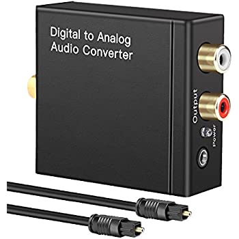 Digital to Analog Audio Converter Digital Optical Toslink Coaxial Inputs to RCA Audio Adapter and AUX