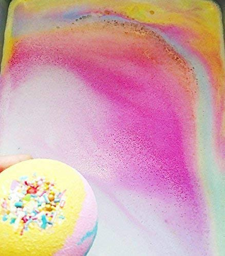 Unicorn bath bomb Colorful Rainbow Bubble Spa Fizzies 6 oz round 5
