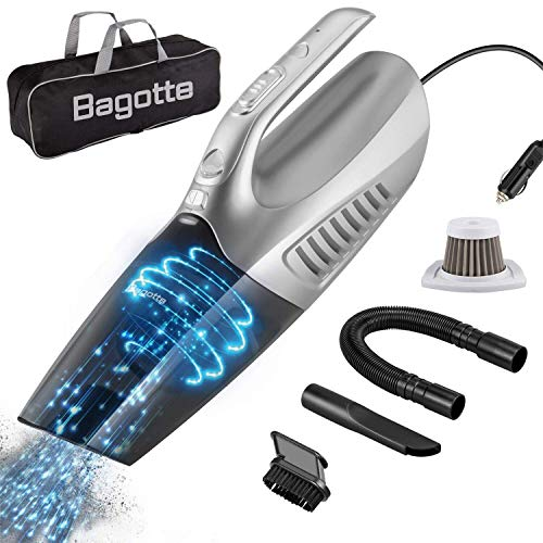 Bagotte DEENKEE High LED Light, 12V 120W Wet/Dry Auto Portable Vacuum Cleaner for Car Interior Cleaning, 16.4FT Power Cord with Carry Bag (Silver)