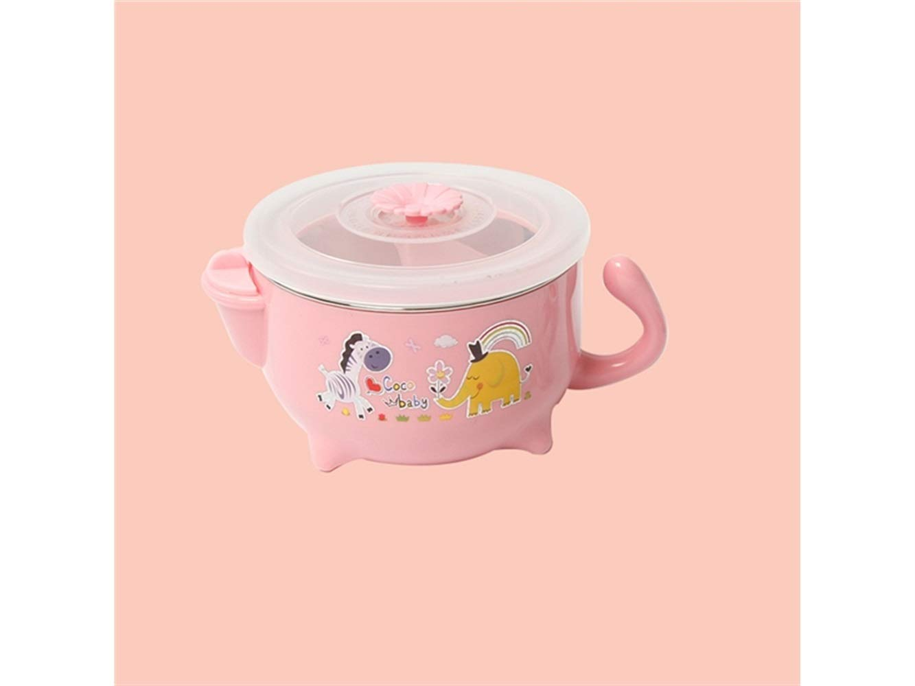 Yuchoi Contemporary Animal Pattern Baby Feeding Bowl Water Injection Bowl Anti-Scald Stainless Steel Children Dish Insulation Bowl for Kids Students(Pink)