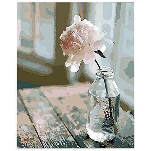 Pintar por numeros para Adultos La Flor - Cuadro de Pinturas con numeros con Pinceles y Colores Brillantes - Lienzo con numeros Dibujado facil de Pintar para Adultos y ninos