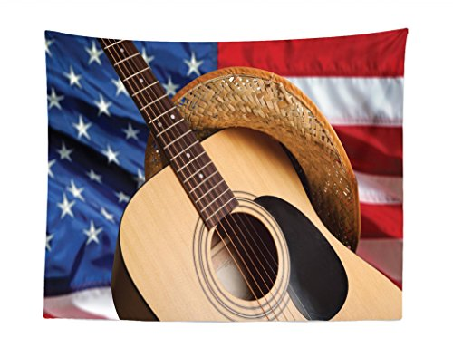 Lunarable Western Tapestry, Country Music Acoustic Guitar with American Flag Popular Fourth of July Festive Photo, Fabric Wall Hanging Decor for Bedroom Living Room Dorm, 28 W X 23 L Inches, Multi]()