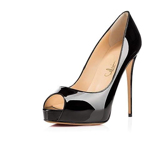 5fd120d010c Women s Peep Toe Hidden Platform Pumps 5 quot  High Heels Classic Stiletto  Sandals ...