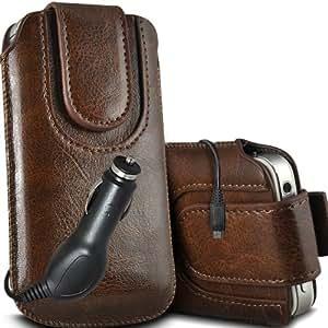 ONX3 Samsung Gaxaxy Light Leather Slip protectora magnética de la PU de cordón en la bolsa del lanzamiento rápido con 12v Micro USB cargador de coche (Brown)