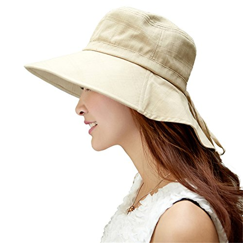 Siggi Summer Flap Cover Cap Cotton UPF 50+ Sun Shade Hat with Neck Cord Wide Brim for Women Beige (Packable Cotton)