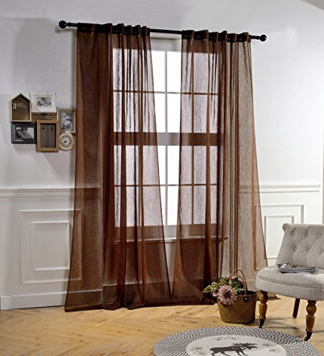 MYSKKY HOME Back Tab and Rod Pocket Window Crushed Voile Sheer Curtains, Brown, 51 x 95 Inch, Set of 2 Crinkle Sheer Curtain Panels - Long Tailored Curtain Panel