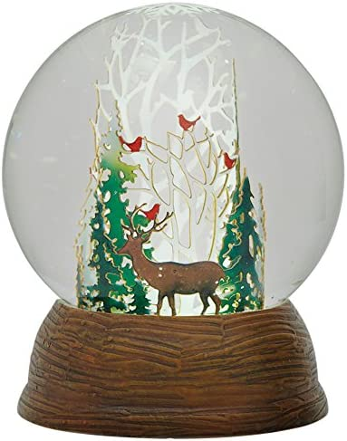 Roman LED Papercut Winter Deer and Cardinals in Forest Snow Globe Dome, 5.5