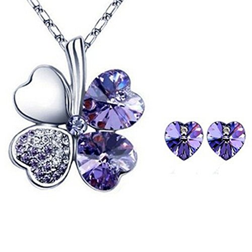 Lucky Sweethearts Gold Plated Swarovski Elements Crystal Heart Shaped Four Leaf Clover Pendant Necklace and Earrings Jewelry Set (Purple) ()