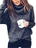 FEIYOUNG Women's Pure Color Cowl Neck Knitted Pullover Sweater Knit Jumper Top