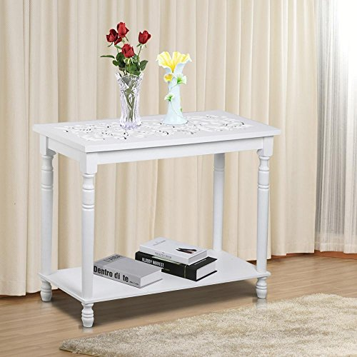 Topeakmart 29'' Chic Antique Carved Top Hall Console Table Shabby Entryway/Hallway Table with Shelf, White (Shabby Chic Sofa Table)