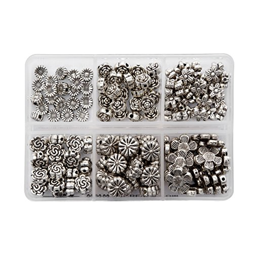 (BRCbeads Top Quality Assorted Flower Tibetan Silver Flower Metal Spacer Beads Mix Lot 120pcs per Box For Jewelry Making Findings (Included Plastic Container))