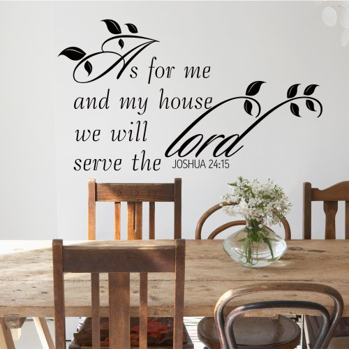 As for me and My House Joshua 24:15 Bible Verse Decal Quote Scripture Wall Decal Vinyl Sticker (Dark Brown, Small)