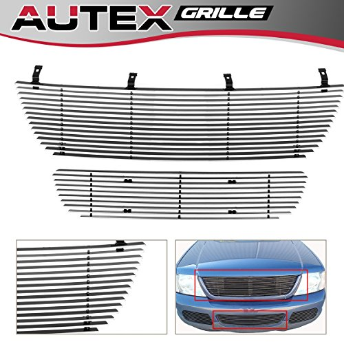 AUTEX Main Upper+Lower Bumper Billet Grille Grill Combo Compatible with Ford Explorer 2002 2003 2004 2005 F87989A (Explorer Grille Billet Bumper Ford)