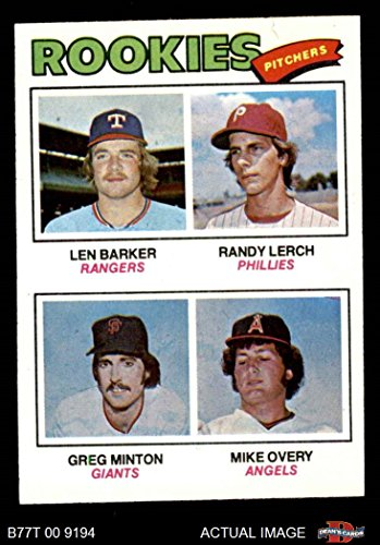 1977 Topps # 489 Rookie Pitchers Len Barker/Randy Lerch/Greg Minton/Mike Overy Rangers/Phillies/Giants/Angels (Baseball Card) Dean's Cards 7 - NM - Pitcher Minton