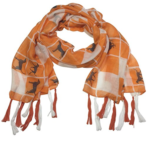 Hounds Orange (Orange and White Squares Coon hound Dog Fringe Tassel Lightweight Scarf)