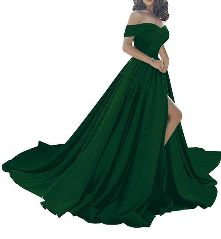 Dark Green Monalia Women's Sexy Off Shoulder Prom Dreeses Long High Split Evening Gown