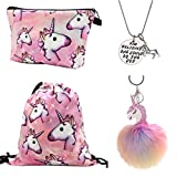 Unicorn Gifts for Girls 4 Pack - Unicorn Drawstring Backpack/Makeup Bag/Necklace/Fluffy Keyring (Pink)