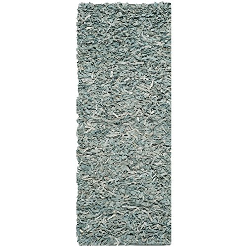 Safavieh Leather Shag Collection LSG511L Hand Woven Light Blue Leather Area Rug (2'3 x - Shag Leather Collection