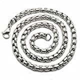 Perepaix RAVE Mens Necklace Thick Chain Silver Stainless Steel