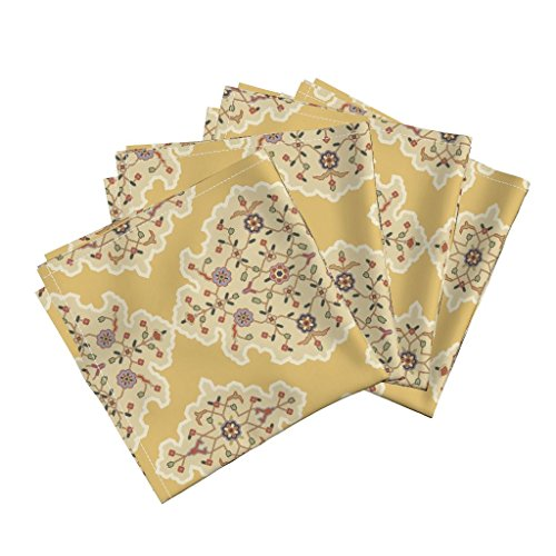 Roostery Indian Persian Damask Medieval Islamic Turkish Chintz Organic Sateen Dinner Napkins Serpentine 675 by Muhlenkott Set of 4 Dinner Napkins