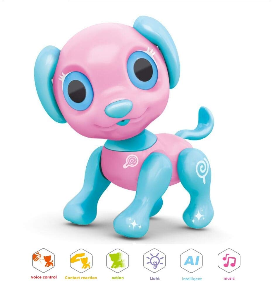 CLCYL Cane astuto del Robot dei Bambini, Tocco Cane Elettrico del Giocattolo, Funzione di Tocco, Controllo di Voce, Giocatore di Musica, Giocattolo di Azione, Regalo di Festa,rosa