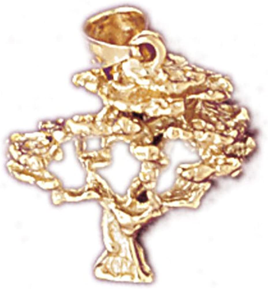 14K Yellow Gold 3-D Cedar Tree Pendant on an Adjustable 14K Yellow Gold Chain Necklace