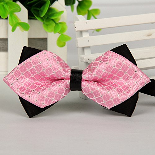 Fashion Bowtie Bow Ties Accessories Tie Classic Pre-Tied Bow Tie Formal Solid Suits Tuxedo for Adults (Pink) by HUAMING (Image #2)