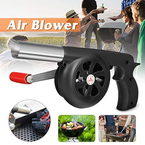 HI WAVES Premium BBQ Fan Air Blower for Barbecue- Portable Mini Hand Crank Fire Bellows Tool for Charcoal Grills, Campfires, Fire Pits- Outdoor Cooking Picnic Camping Stove Accessories