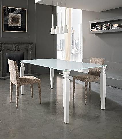 Tavolo Da Pranzo Rettangolare In Cristallo E Legno Laccato Sala Cucina Art St298 Amazon It Casa E Cucina