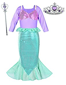 Girls Little Mermaid Costume Princess Dress Up For Birthday with Accessories(Crown+Wand) 9-10 Years(145cm)