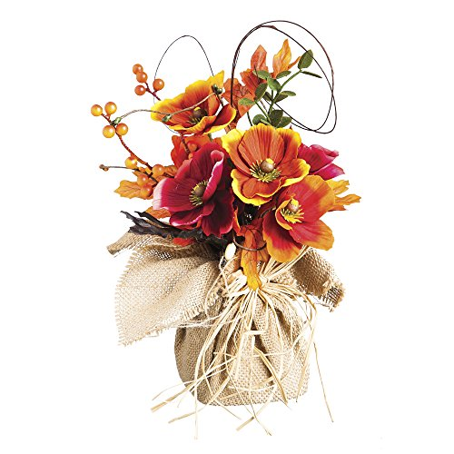 Cypress Home Polyester Poppy Burlap Tabletop Floral Decor (Fall Flower Centerpiece)
