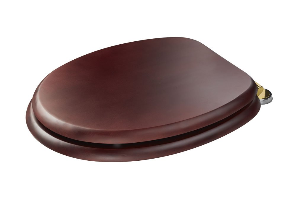 Croydex Douglas 'Sit Tight' Double Fixed, No More Movement Mahogany Effect Toilet Seat with Anti-Bacterial Treated Surface and Brass Hinges WL530752H